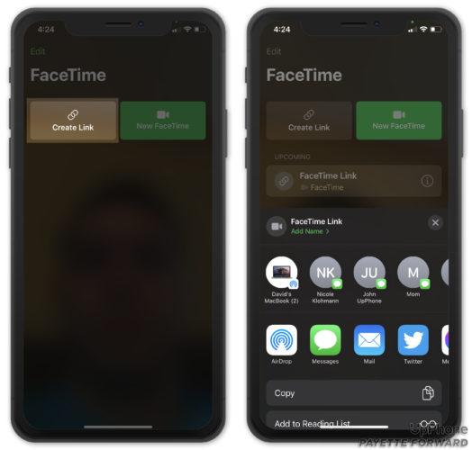 create facetime link ios 15