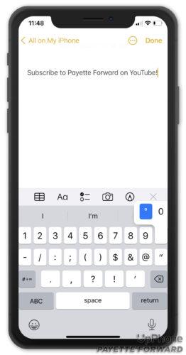 degree symbol iphone keyboard
