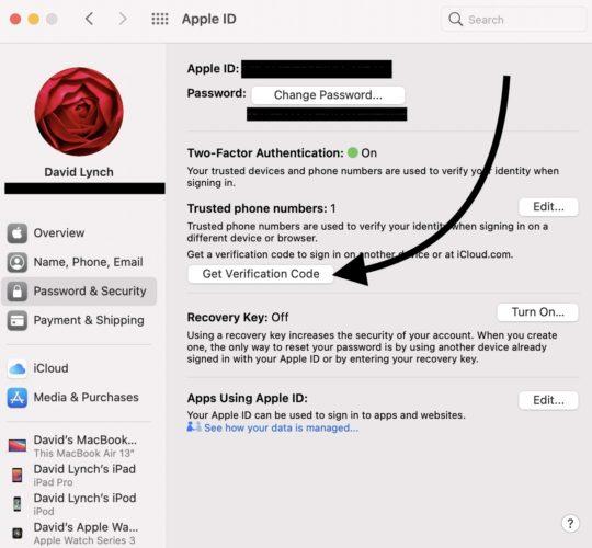 get apple id verificaton code on mac