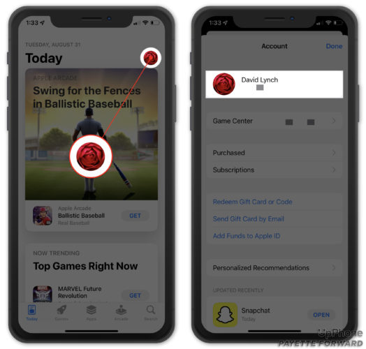 tap on your name in iphone app store