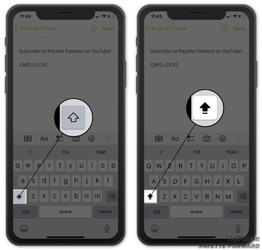 turn on caps lock on iphone