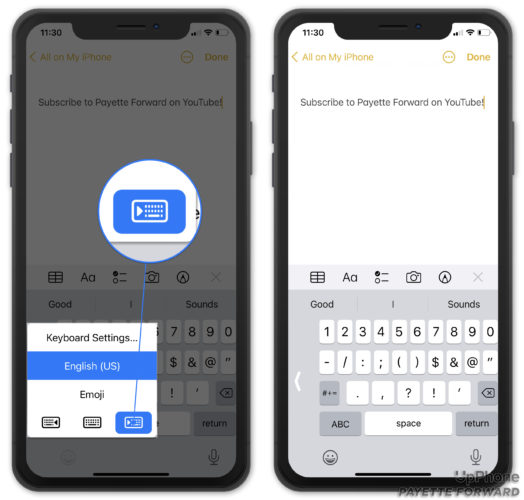 turn on one handed iphone keyboard