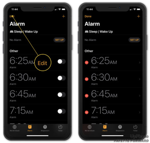 edit an alarm on your iphone