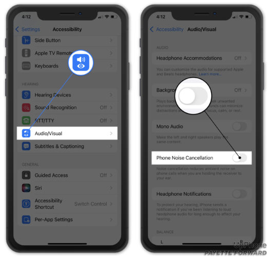 turn off phone noise cancellation on iphone