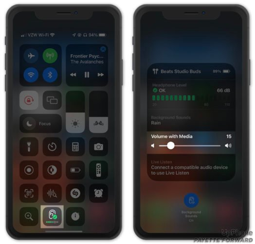 adjust volume with media for background sounds on iphone