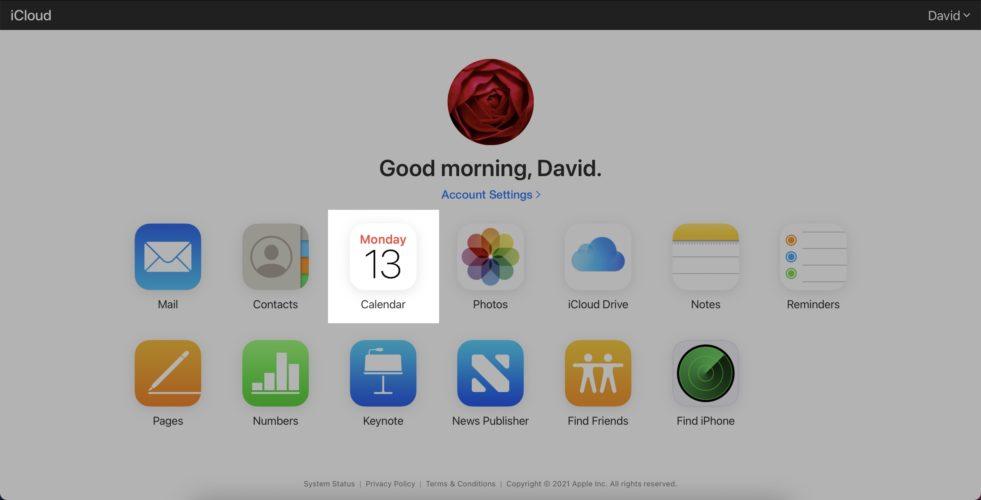 click on calendar app in cloud