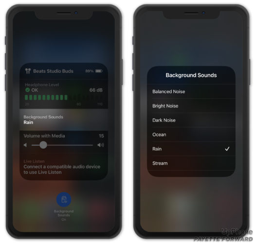 select a background sound iphone control center