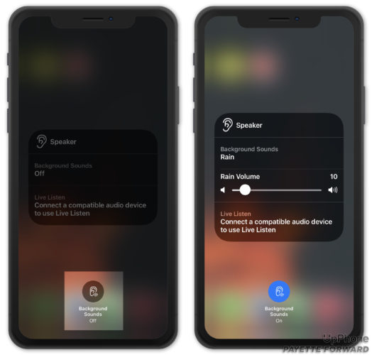 turn on background sounds in iphone control center ios 15